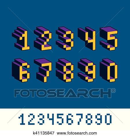 Cybernétique 3d Nombres Pixel Art Vecteur Numeration Pixel éléments Conception Contemporain Pointillé Chiffres Fait Dans Technologie
