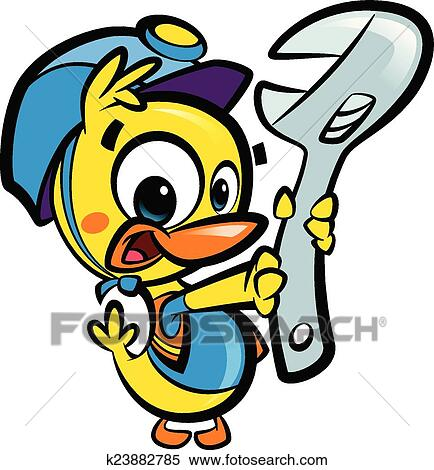 clipart of diy do it yourself cartoon baby duck plumber fixing