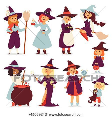 Mignon Peu Sorcière à Balai Dessin Animé Chat Pour Impression Sur Sac Magie Halloween Carte Et Fantasme Jeunes Filles Caractère