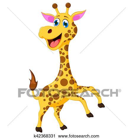 Dessin Girafe Rigolote banques de photographies - rigolote, girafe, dessin animé k42368331
