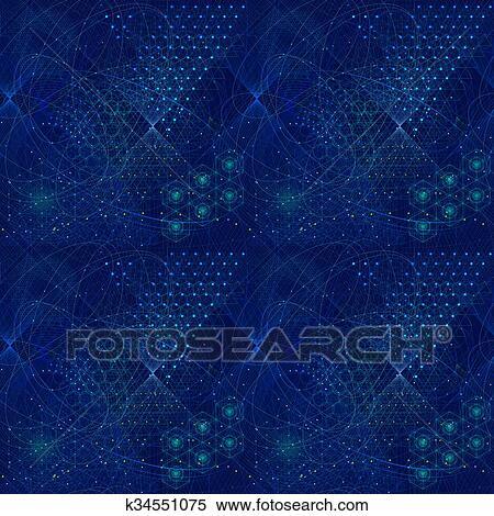 Sacred geometry symbols and elements wallpaper pattern Stock Illustration