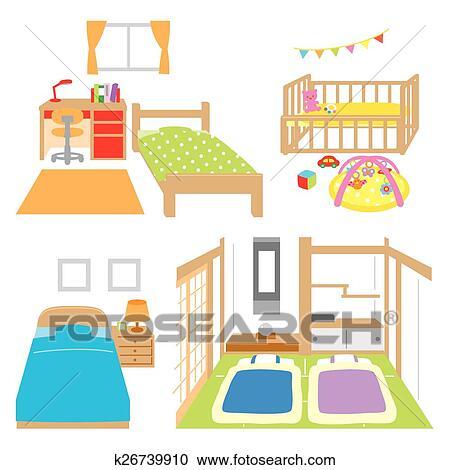 Clipart Schalfzimmer Childs Zimmer Kinderbett Japanes