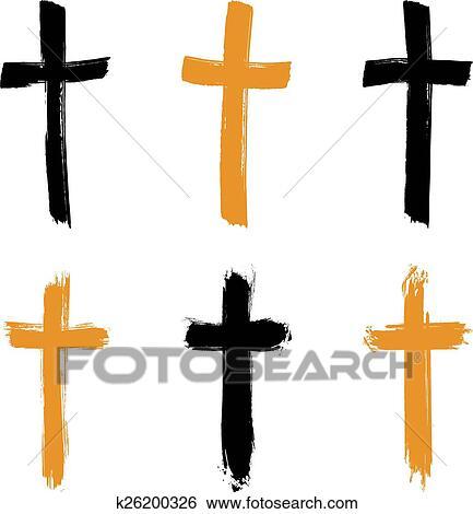 Set Of Hand Drawn Crosses Clip Art