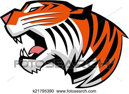 Clipart t te tigre rugir vue c t vecteur k21795390 recherchez des clip arts des - Tete de tigre dessin facile ...