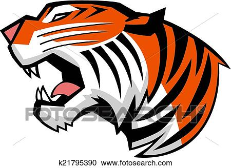 clipart of tiger head roaring side view vector k21795390 search rh fotosearch com roaring tiger head clipart tiger head clipart images