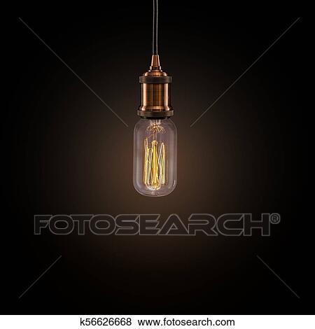 Vintage Edison Light Bulb On Dark Background Stock Photo K56626668 Fotosearch
