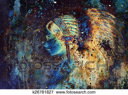 Collage Peinture De A Jeune Indien Femme Porter A Magnifique Banque D Illustrations K26781827 Fotosearch
