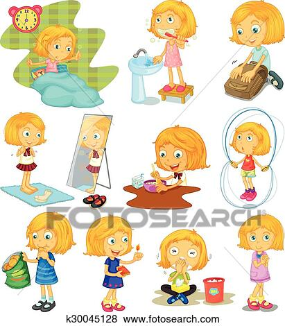 clip art of daily routine of a girl k30045128 search clipart