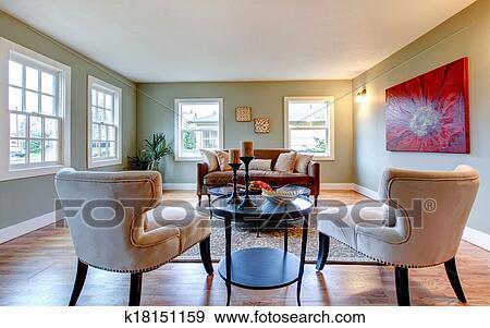 Stock Fotograf - erfrischen, aqua, wohnzimmer, mit, rote wand, bild ...