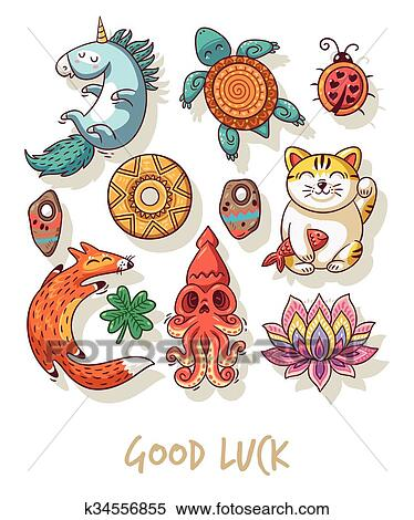 Clipart Of Good Luck Lucky Amulets And Happy Symbols Set K34556855
