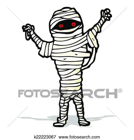 clip art of halloween mummy cartoon k22223067 search clipart rh fotosearch com Halloween Pumpkin Clip Art Halloween Clip Art Borders