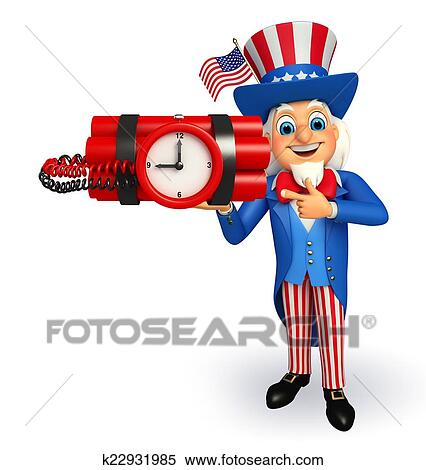 stock of uncle sam with time bomb k22931985