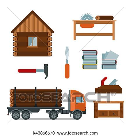 Lumberjack Woodworking Tools Icons Vector Illustration Clipart