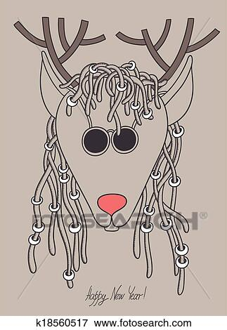 original hipster christmas deer with sunglasses and dreads hair merry christmas happy new year