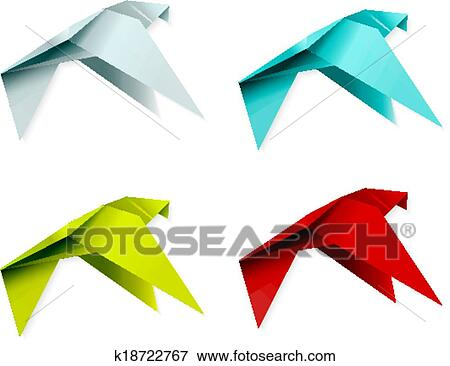 Origami bird isolated Royalty Free Vector Image | 366x450