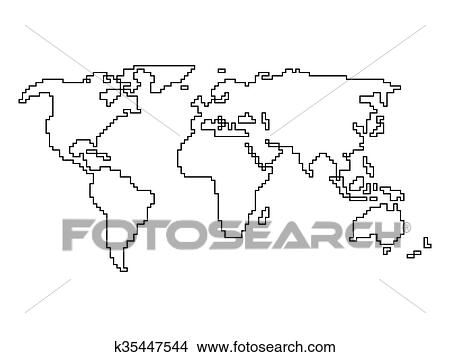 clipart of vector world map angular outline k35447544 search