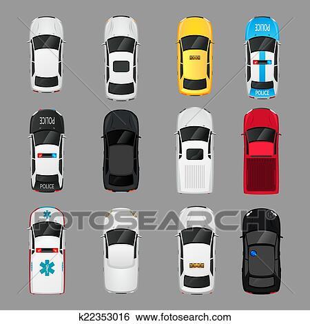 Clipart voitures ic nes vue dessus k22353016 recherchez des cliparts des illustrations - Voiture vue de haut ...