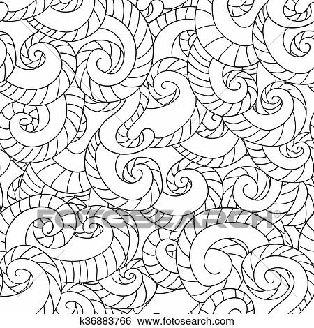 Clip Art of Coloring for adults. Pattern from waves k36883766 ...