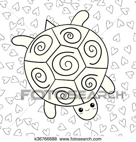 - Cute Turtle Coloring Book Page. Clip Art K36766688 Fotosearch