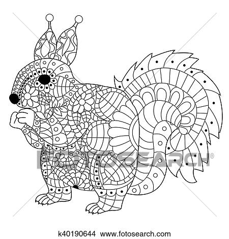 Clipart - eichhörnchen, färbung, vektor, für, erwachsene k40190644 ...
