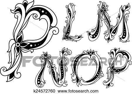 Clipart Of Floral Outline Letters P L M N And O K24572760