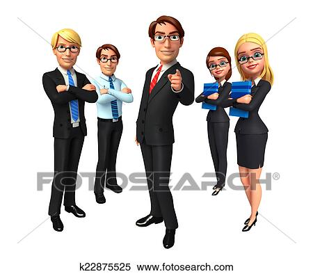 Group business people in office. Stock Illustration ...