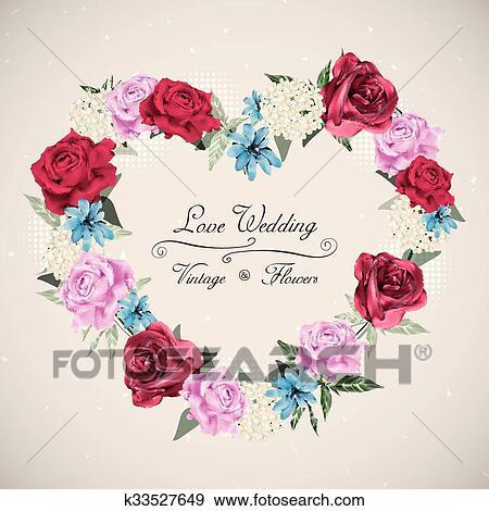 Clip Art Romantische Blumen Hochzeitskarten Design K33527649