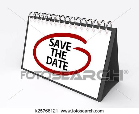 calendar with the words save the date circled in red ink