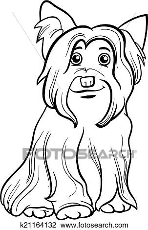 Black And White Cartoon Illustration Of Cute Yorkshire Terrier Dog Or York For Coloring Book