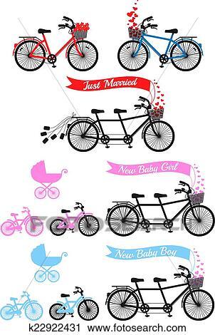 Acquazzone Bambino Con Bicicletta Tandem Clipart