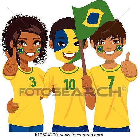 Brasilianisch Fussballfans Clipart K19624200 Fotosearch