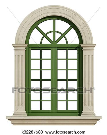 Stock Illustrations of Classic arch window with stone frame ...