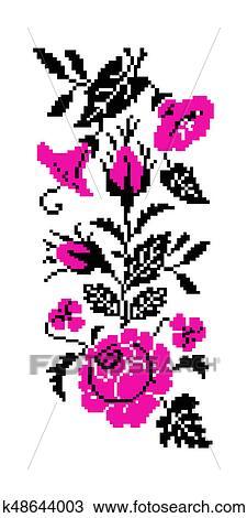 Couleur Bouquet De Flowers Frontière Pattern Dessin