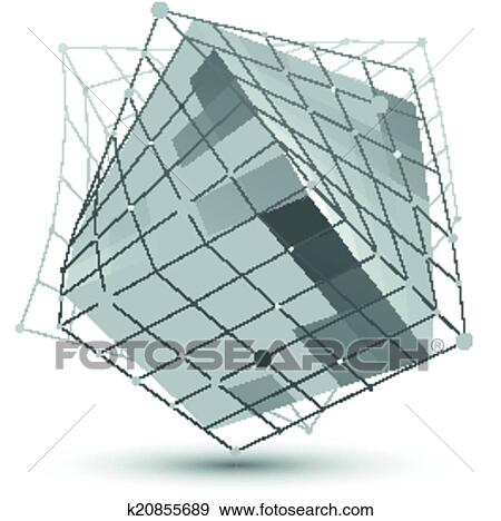 Distorted 3d Abstract Object With Lines And Dots Isolated On