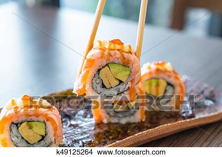 Grilled Salmon Sushi Roll Picture K49125264 Fotosearch