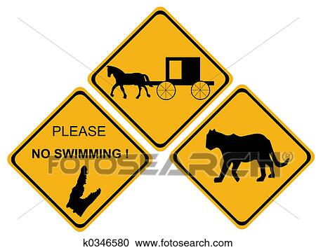 stock illustrations of alligator hazard sign k0346580 search