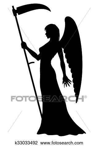 Anjo Morte Silueta Desenho K33033492 Fotosearch