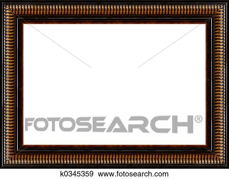 Antique Rustic Black Wooden Picture Frame Isolated Stock Photograph