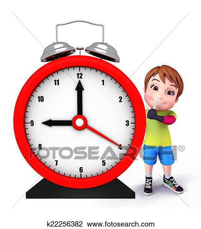Cute Kid With Table Clock Drawing K22256382 Fotosearch