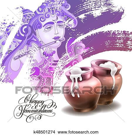 Clipart Happy Janmashtami Festival Artwork Design Fotosearch Search Clip Art Illustration Murals
