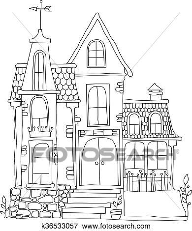 Clipart noir blanc illustration dans dessin anim style manoir k36533057 recherchez des - Manoir dessin ...