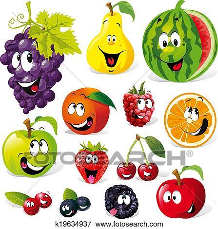 Fruit Dessin clipart - rigolote, fruit, dessin animé k19634937 - recherchez des