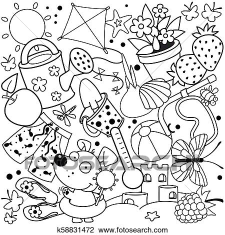 Summer Coloring For Children Clipart K58831472 Fotosearch