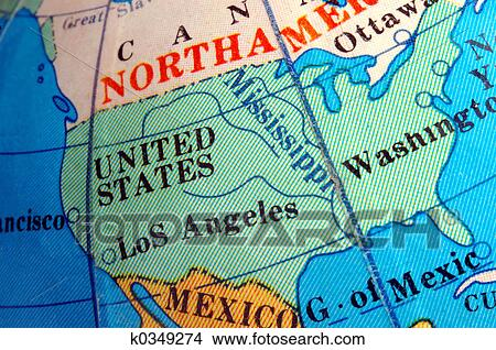 Small Map Of The United States.Stock Photo Of Usa Map On Small Terrestrial Globe K0349274 Search