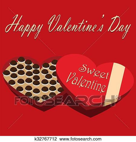 Clip Art Of Valentine S Day Box Of Chocolate Candy Sweet Valentine