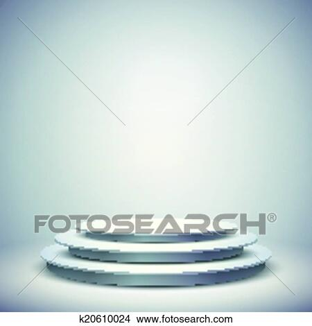 clipart of 3d vector blank template layout of white empty stage