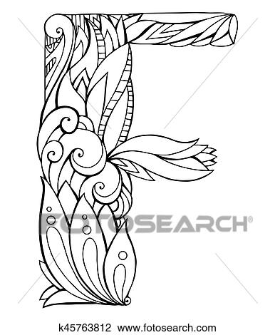 Clipart Of Black And White Freehand Drawing Capital Letter F With