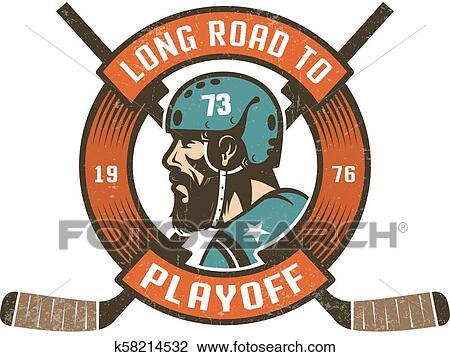 Hockey, playoff, logo, à, barbu, player's, tête, dans ...