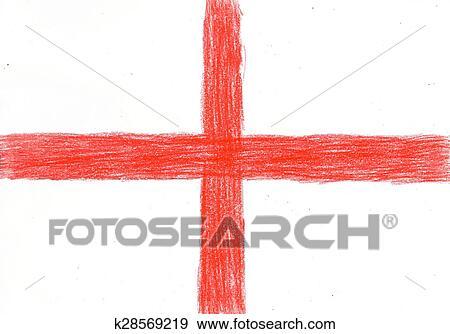 Colección de fotografía - inglaterra, bandera, dibujo a lápiz ...