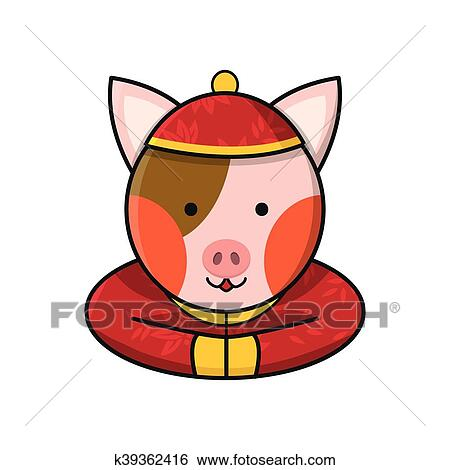 Clip Art Of Pig Chinese Happy New Year K39362416 Search Clipart
